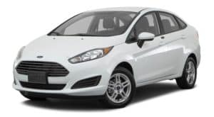A white 2017 Ford Fiesta is facing left.