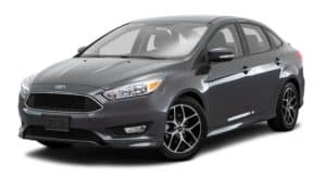 A grey 2017 Ford Focus is facing left.