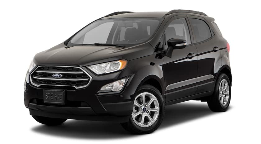 A black 2018 Ford EcoSport is facing left.