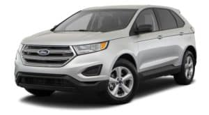 A silver 2018 Ford Edge is facing left.
