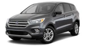 A dark grey 2018 Ford Escape us facing left.