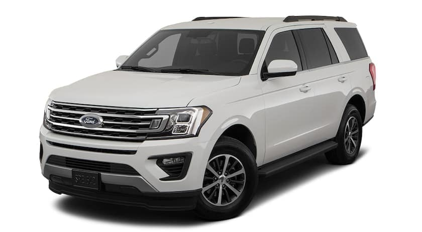 A white 2018 Ford Expedition is facing left.