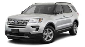 A silver 2018 Ford Explorer is facing left.