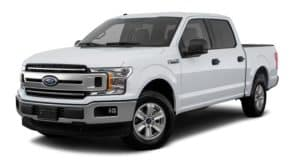 A white 2018 Ford F-150 is facing left.