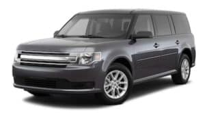 A grey 2018 Ford Flex is facing left.