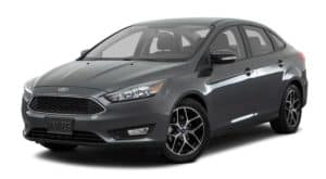 A dark grey 2018 Ford Focus is facing left.