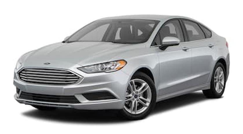 A silver 2018 Ford Fusion is facing left.