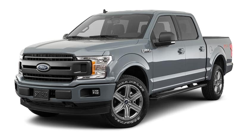 A grey 2019 Ford F-150 is facing left.