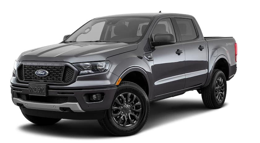 A grey 2019 Ford Ranger is facing left.