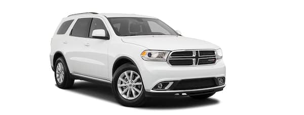 A white 2020 Dodge Durango is facing right.