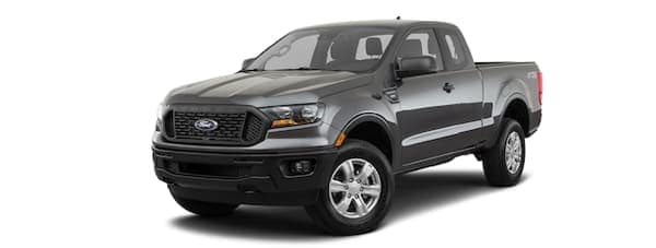 A grey 2020 Ford Ranger is facing left.