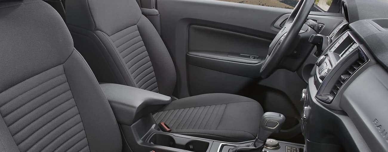 The grey interior of a 2020 Ford Ranger is shown.