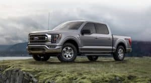 A grey 2021 Ford F-150 is parked in grass in front of a misty mountain.