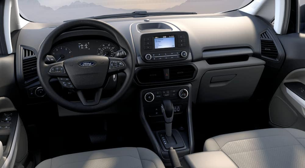 The black interior of a 2020 Ford EcoSport S is shown.