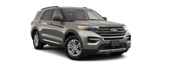A grey 2020 Ford Explorer is facing right.