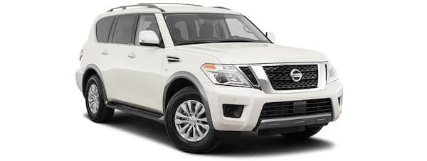 A white 2020 Nissan Armada is angled right.