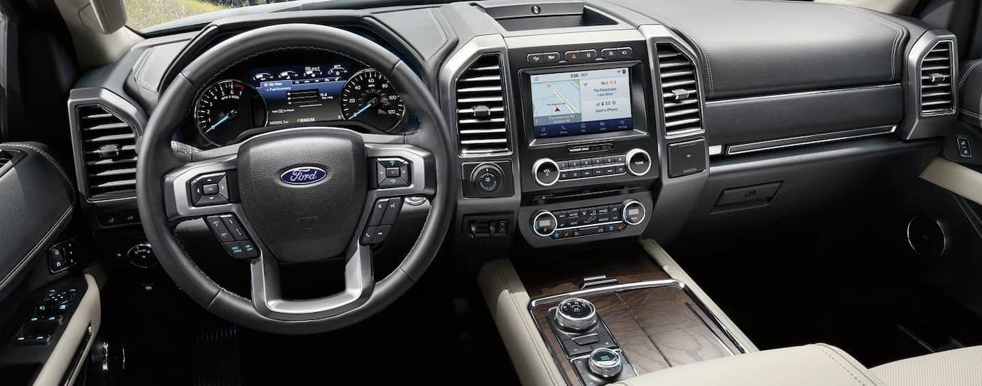 The interior of a 2020 Ford Expedition from an Albany, NY dealership is shown.