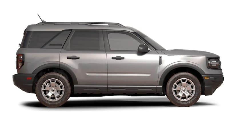 A silver 2021 Ford Bronco Sport is facing right.
