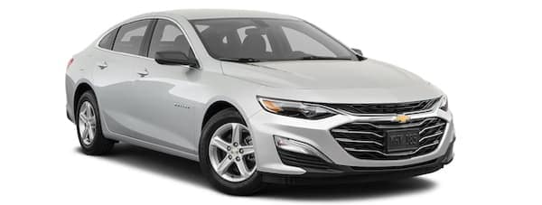 A silver 2020 Chevy Malibu is angled right.