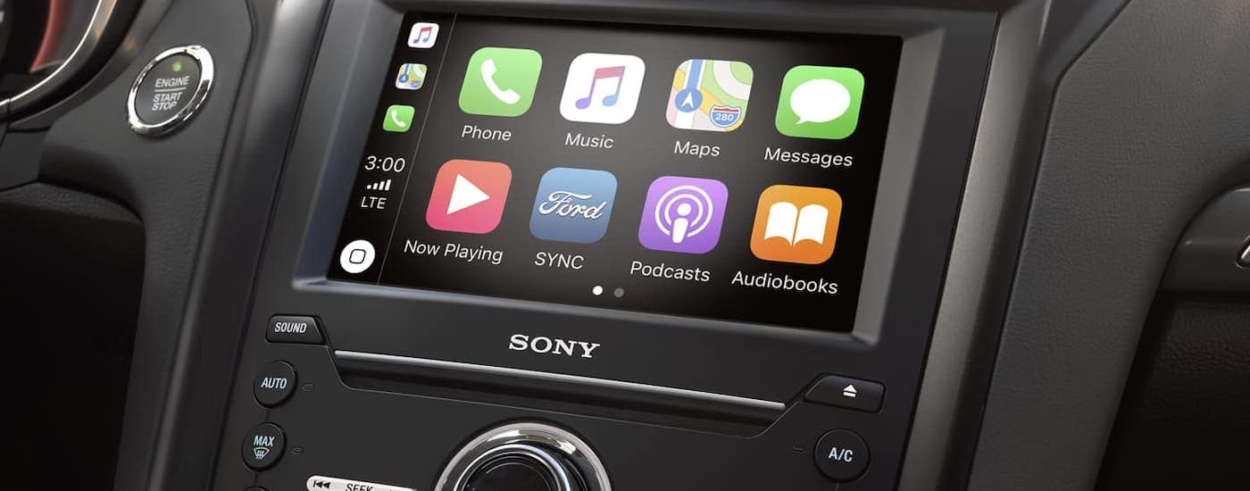 A closeup shows the infotainment screen in a 2020 Ford Fusion.