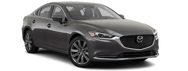 A black 2020 Mazda Mazda6 is angled right.