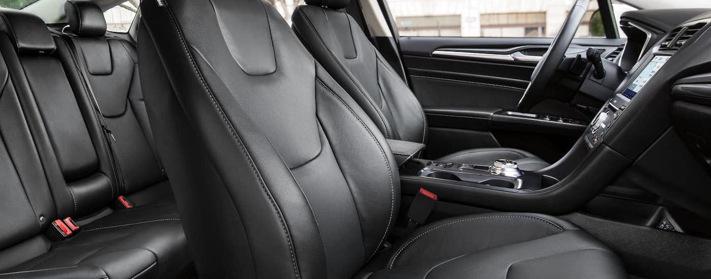 The available black ActiveX seats are shown in a 2020 Ford Fusion that is parked near Albany, NY.
