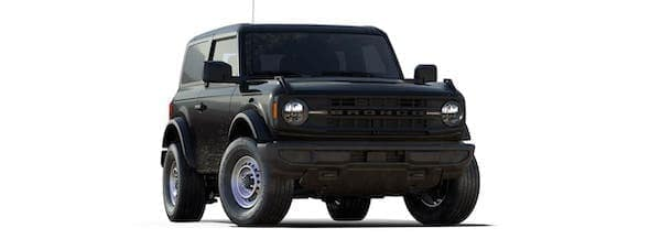 A black 2021 Ford Bronco (2dr) is angled right.