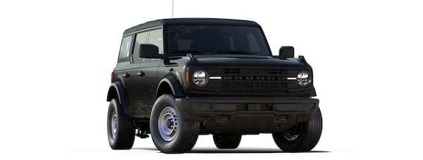 A black 2021 Ford Bronco 4-door is angled right.