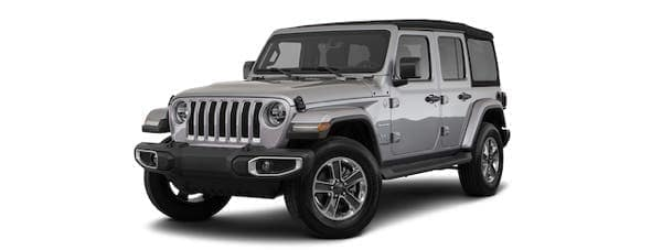 A silver 2020 Jeep Wrangler Unlimited is angled left.