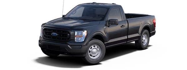 A black 2021 Ford F-150 XL is angled left.