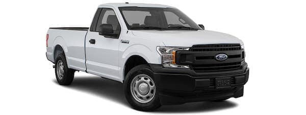 A white 2020 Ford F-150 XL is angled right.