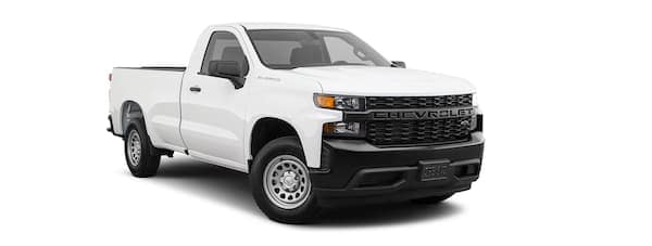 A white 2021 Chevy Silverado 1500 is angled right.