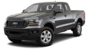 A black 2021 Ford Ranger is angled left.