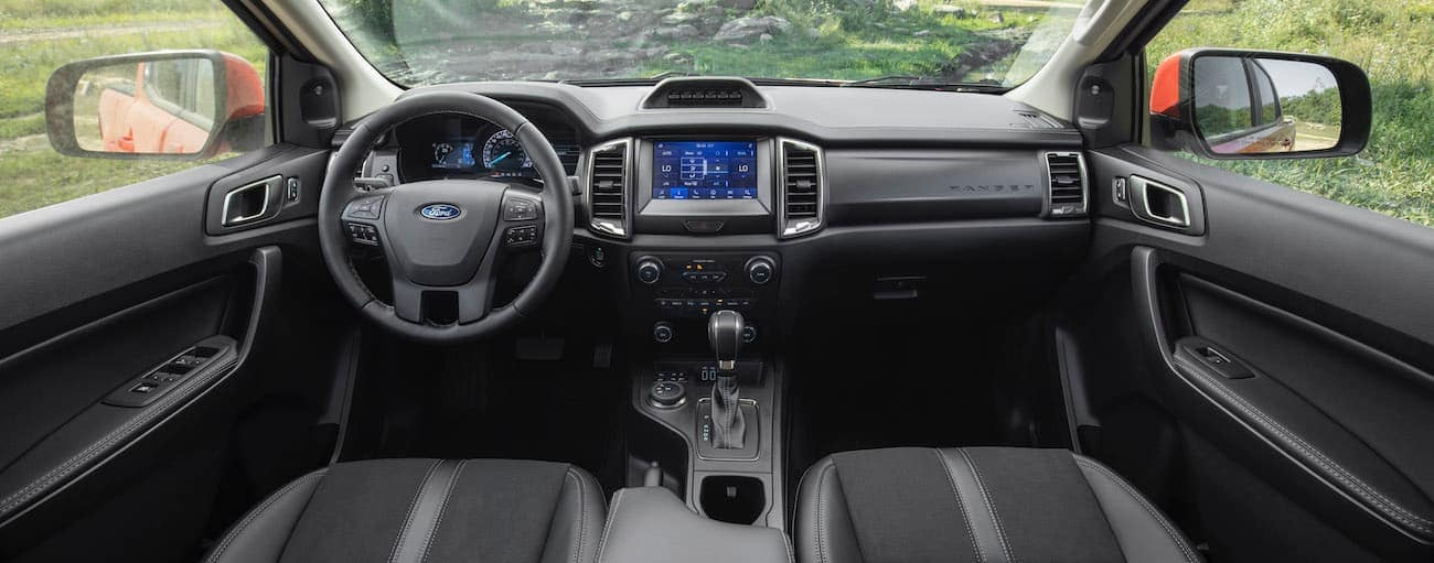 The black interior of a 2021 Ford Ranger is shown.