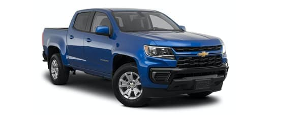 A blue A white 2021 Chevy Colorado is angled right.