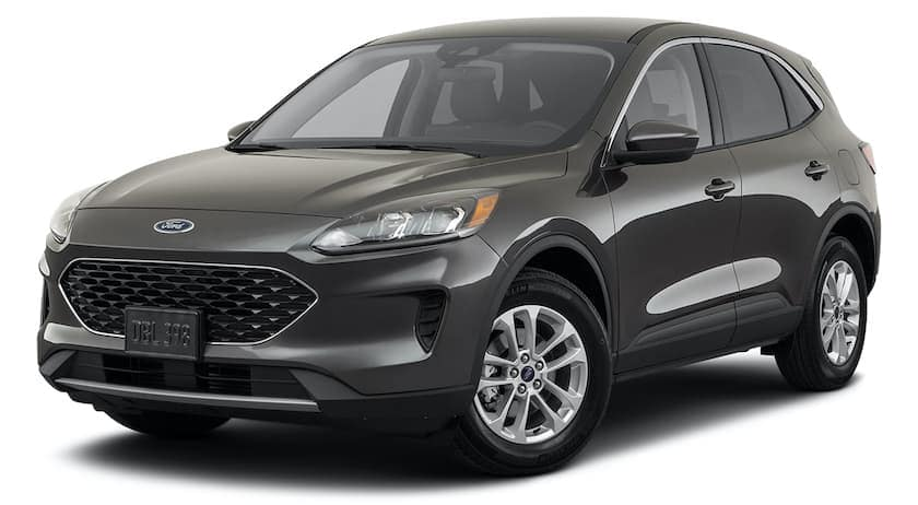 A black 2021 Ford Escape is angled left.