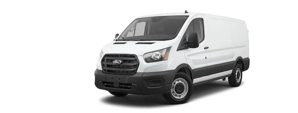 A white 2021 Ford Transit is angled left.