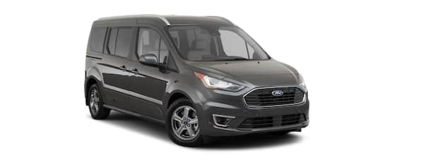 A black 2021 Ford Transit Connect is angled right.