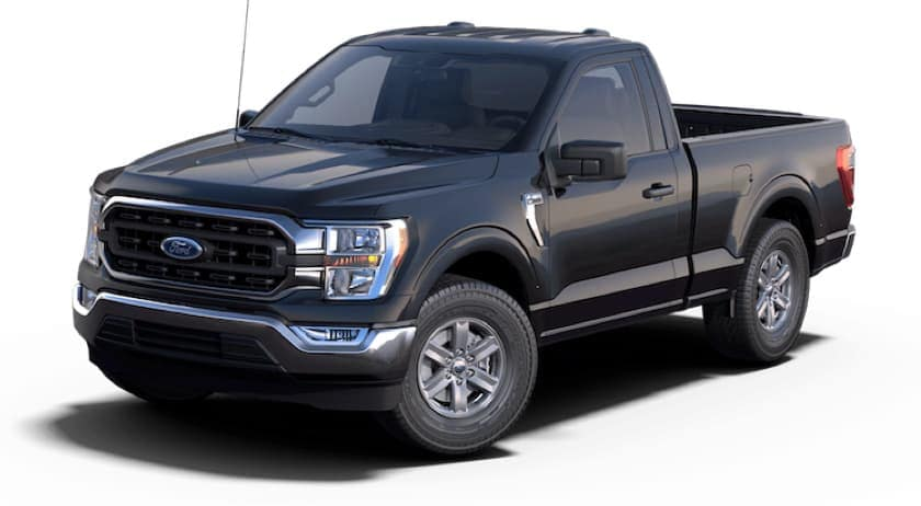 A black 2021 Ford F-150 diesel is angled left.