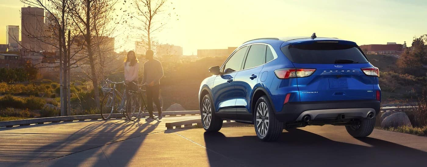 A blue 2021 Ford Escape is shown from behind in a park after winning the 2021 Ford Escape vs 2021 Mazda CX-5 comparison.