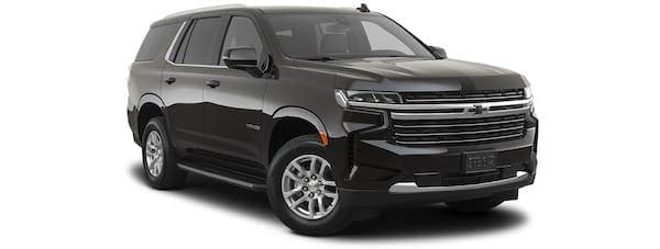 A black 2021 Chevy Tahoe is angled right.