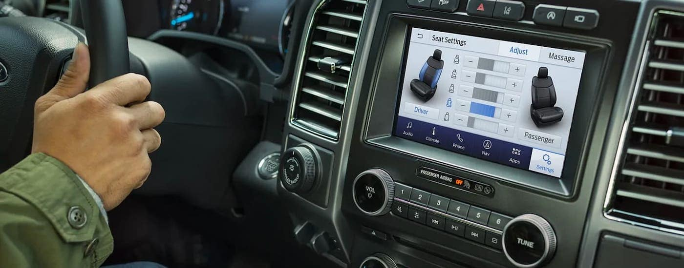 A closeup shows the infotainment screen in a 2021 Ford Expedition.