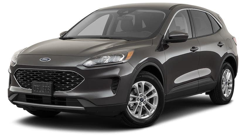 A black 2021 Ford Escape SE is angled left.