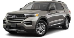 A gold 2021 Ford Explorer XLT is angled left.