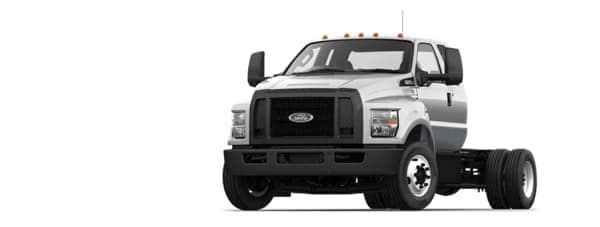 A silver 2021 Ford F-650 is angled left.