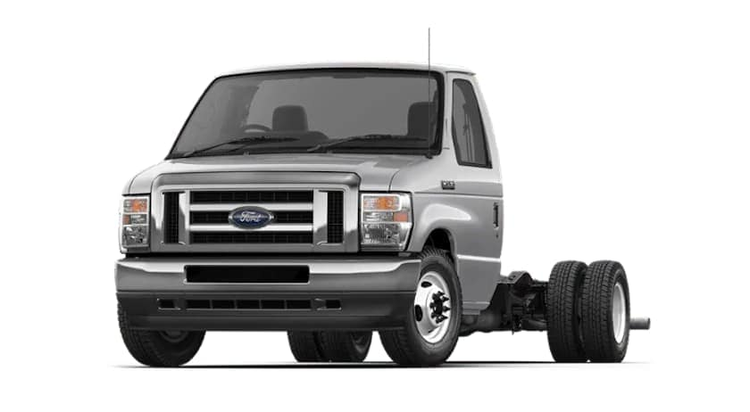 A silver 2022 Ford E-Series Cutaway is angled left.