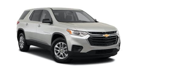 A white 2021 Chevy Traverse is angled right.