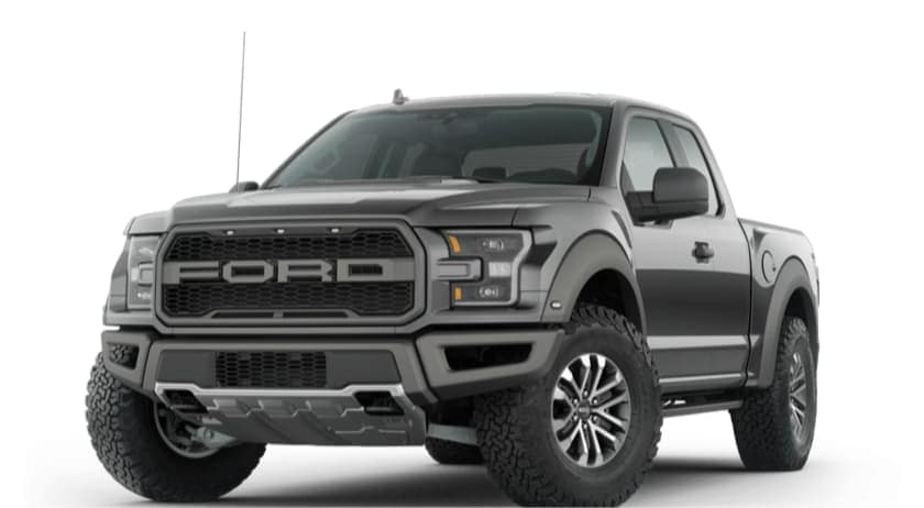 A black 2021 Ford F-150 Raptor is angled left.