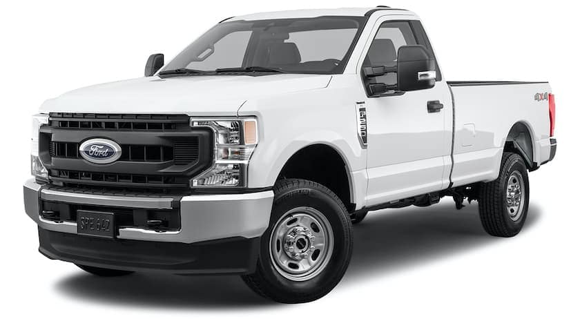 A white 2021 Ford F-250 is angled left.