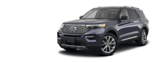 A dark grey 2021 Ford Explorer is angled left.